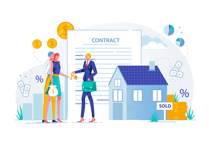 Purchasing House with Estate Agent. Property Buying Deal Conclusion and Real Estate Investments. Business Woman Seller and Buyer Characters on Contract Paper Background. FLat Vector Illustration.