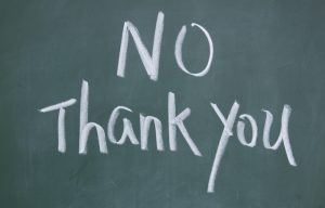 """""""No thank you"""" chalk on board"""